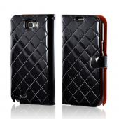 Black/ Orange Leather Stitched Diary Premium Crystal Silicone Case w/ ID Slots for Samsung Galaxy Note 2