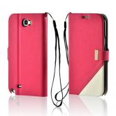 Pink/ White Point Diary Flip Case w/ ID Slots, Stand & Wriststrap for Samsung Galaxy Note 2