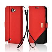 Red/ Black Point Diary Flip Case w/ ID Slots, Stand &amp; Wriststrap for Samsung Galaxy Note 2