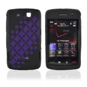 Blackberry Storm 9530 Silicone Case, Rubber Skin - Purple Laser Checker Diamond on Black