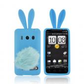 HTC EVO 4G Silicone Case w/ Fur Tail Stand - Sky Blue Bunny
