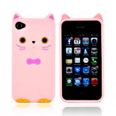 Premium AT&amp;T/ Verizon Apple iPhone 4, iPhone Cute Cat w/ Bow Tie Silicone Case - Baby Pink/ Pink
