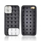 Apple iPhone 5 Silicone Case - Black/ White/ Gray Blocks