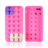 Apple iPhone 5 Silicone Case - Pink/ Purple/ Gray Blocks