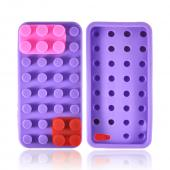 Apple iPhone 5 Silicone Case - Purple/ Red/ Pink Blocks