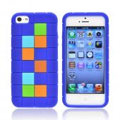 Apple iPhone 5 Silicone Case - Green/ Blue/ Brown Blocks on Dark Blue