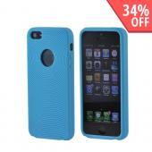 Apple iPhone 5 Silicone Case w/ Textured Lines - Baby Blue Circles