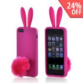 Apple iPhone 5 Silicone Case w/ Fur Tail Stand - Hot Pink Bunny