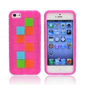 Apple iPhone 5 Silicone Case - Green/ Blue/ Brown Blocks on Hot Pink