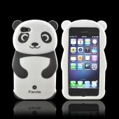Premium Apple iPhone 5 Silicone Case - Black/ White Baby Panda w/ Belly Button