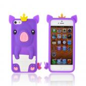 Apple iPhone 5/5S Silicone Case - Purple Royal Piglet
