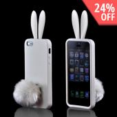 Apple iPhone 5 Silicone Case w/ Fur Tail Stand - White Bunny