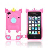Apple iPhone 4/4S Silicone Case - Hot Pink Royal Piglet