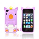Apple iPhone 4/4S Silicone Case - Light Purple Royal Piglet