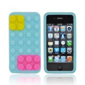 AT&amp;T/ Verizon Apple iPhone 4, iPhone 4S Silicone Case - Sky Blue/ Hot Pink/ Yellow Blocks