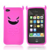 Apple Verizon/ AT&amp;T iPhone 4, iPhone 4S Silicone Case - Hot Pink Lil Monster w/ Horns