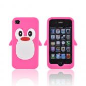 AT&amp;T/ Verizon Apple iPhone 4. iPhone 4S Silicone Case - Hot Pink Penguin