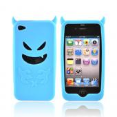 Apple iPhone 4 Silicone Case - Light Blue Devil w/ Horns