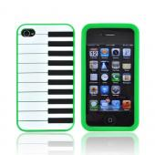 AT&amp;T/ Verizon Apple iPhone 4, iPhone 4S Silicone Case - Neon Green Piano