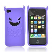Apple Verizon/ AT&amp;T iPhone 4, iPhone 4S Silicone Case - Purple Lil Monster w/ Horns