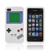 AT&T/ Verizon Apple iPhone 4, iPhone 4S Silicone Case - White Retro Pocket Gamer