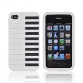AT&amp;T/ Verizon Apple iPhone 4, iPhone 4S Silicone Case - White Piano