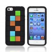 Apple iPhone 5 Silicone Case - Green/ Blue/ Brown Blocks on Black