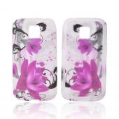 LG Optimus M MS690 Silicone Case - Pink Flowers on Frost White
