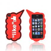 "AT&T/ Verizon Apple iPhone 4, iPhone 4S Silicone Case - White ""Like"" on Red"