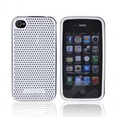 AT&amp;T/ Verizon Apple iPhone 4, iPhone 4S Fusion Series Perforated Silicone Case - White/ Black