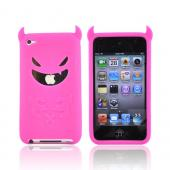 Apple iPod Touch 4 Silicone Case - Hot Pink Devil w/ Horns