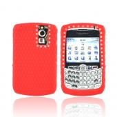 Blackberry Curve 8330/8300/8310/8320 Silicone Case, Rubber Skin Diamond Texture Back w/ Embedded Gems - Red