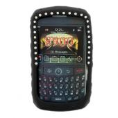 Blackberry Curve 8900 Silicone Case, Rubber Skin w/ Embedded Gems - Black