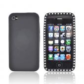 Apple Verizon/ AT&amp;T iPhone 4, iPhone 4S Silicone Case w/ Embedded Gems - Black