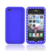 Apple Verizon/ AT&amp;T iPhone 4, iPhone 4S Silicone Case w/ Embedded Gems - Blue