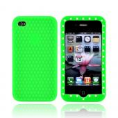 Apple Verizon/ AT&amp;T iPhone 4, iPhone 4S Silicone Case w/ Embedded Gems - Green