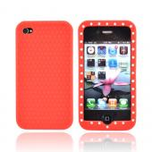 Apple Verizon/ AT&amp;T iPhone 4, iPhone 4S Silicone Case w/ Embedded Gems - Red