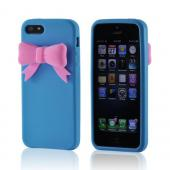Baby Blue w/ Pink Bow Premium Silicone Case for Apple iPhone 5