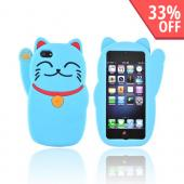 Premium Apple iPhone 5 Silicone Case - Blue Lucky Cat