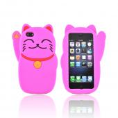 Premium Apple iPhone 5 Silicone Case - Hot Pink Lucky Cat