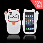 Premium Apple iPhone 5 Silicone Case - White Lucky Cat