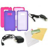 LG Optimus Elite Essential Girly Bundle Package w/ Hot Pink &amp; Purple Rubberized Hard Case, Mirror Screen Protector, Car &amp; Travel Charger