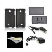 LG Escape Essential Bundle Package w/ Black Rubberized Hard Case, Screen Protector, Leather Pouch, Car &amp; Travel Charger