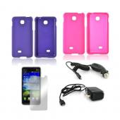 LG Escape Essential Girly Bundle Package w/ Hot Pink &amp; Purple Rubberized Hard Case, Mirror Screen Protector, Car &amp; Travel Charger