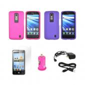 LG Nitro HD Essential Girly Bundle Package w/ Rose Pink & Purple Rubberized Hard Case, Travel Charger, Screen Protector, Micro USB Data Cable, & Hot Pink USB Car Adapter