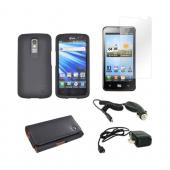 LG Nitro HD Essential Bundle Package w/ Black Rubberized Hard Case, Screen Protector, Leather Pouch, Car &amp; Travel Charger