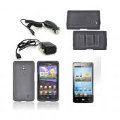 LG Spectrum Essential Bundle Package w/ Black Rubberized Hard Case, Screen Protector, Leather Pouch, Car &amp; Travel Charger
