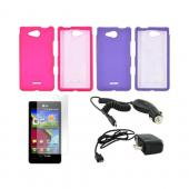 LG Lucid VS840 Essential Girly Bundle Package w/ Hot Pink &amp; Purple Rubberized Hard Case, Anti-Glare Screen Protector, Car &amp; Travel Charger