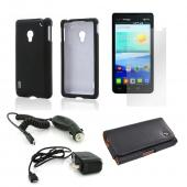 Essential Bundle Package w/ Black Rubberized Hard Case, Screen Protector, Leather Pouch, Car & Travel Charger for LG Lucid 2