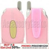 Sporty Baby Pink Leather Cell Phone Pouch - (FS)
